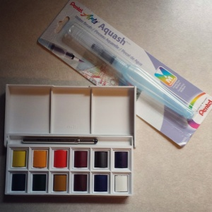 I picked up the Winsor & Newton Cotman Water Colour Sketchers' Pocket Box, a water brush, and a Tikky Graphic pen to draw with.  These go along with my pencils and kneaded eraser.