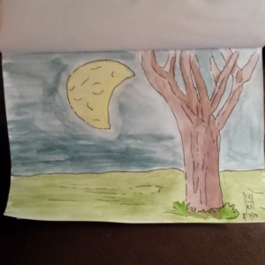 Tree in a park.  I didn't intend on the face in the moon, but once I got done, it was there!